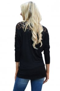 Black Floral Lace Insert 3/4 Sleeve Top
