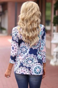 Blue Long Sleeve Knotted Boho Print Blouse