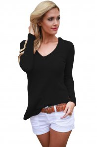Black Long Sleeve Knit Hooded Top
