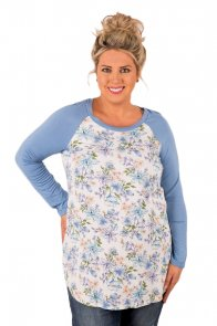 Blue Raglan Sleeve White Floral Plus Size Top