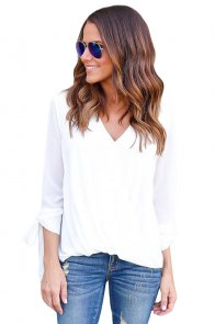 White Womens V Neck Ruched Tie Sleeve Top