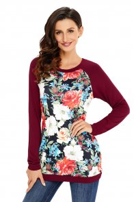 Burgundy Raglan Sleeve Floral Top