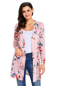 Pink Long Sleeve Floral Cardigan