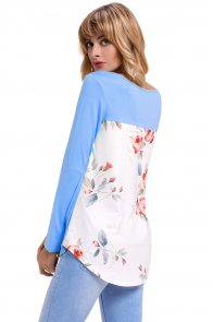 Blue Crisscross Neck Floral Back Long Sleeve Top