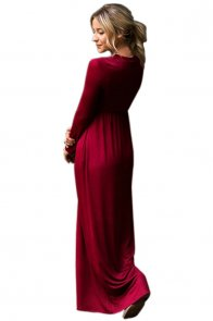 Burgundy Long Sleeve High Waist Maxi Jersey Dress