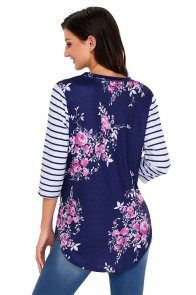 Navy Striped Sleeves and Floral Print Shirt