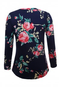 Navy Long Sleeve Floral Autumn Womens Top
