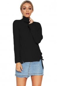 Black Long Sleeve Turtleneck Braided Sweater