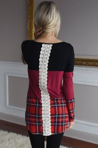 Black Red Block Plaid Splice Long Sleeve Top