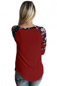 Burgundy Floral Varsity Stripe Long Sleeve Top