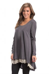 Charcoal Swingy Layered Long Sleeve Tunic