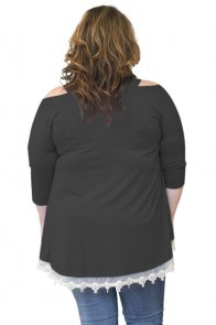 Black Cold Shoulder Lacy Hem Plus Size Blouse