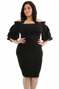 Black Pleated Shoulder Plus Bodycon Dress