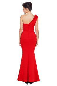 Red Sexy One Shoulder Ponti Gown