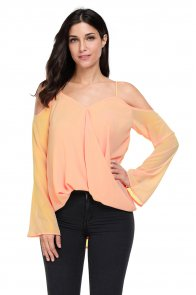 Salmon Cold Shoulder Overlap V Neck Long Sleeve Top