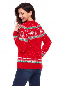 Red Christmas Reindeer Knit Sweater Winter Jumper