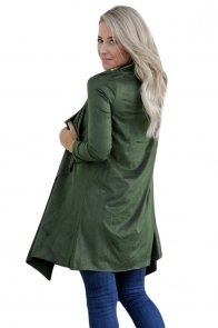 Army Green Faux Suede Open Cardigan