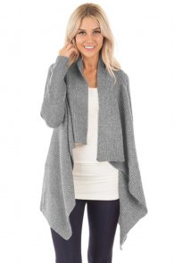Gray Waterfall Long Sleeve Sweater Cardigan
