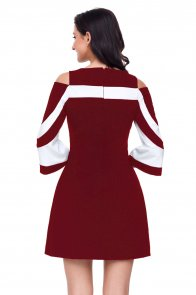 Burgundy White Colorblock Dress