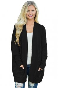 Black Knit Texture Long Cardigan