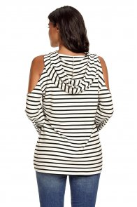 Black White Striped Cold Shoulder Long Sleeve Top