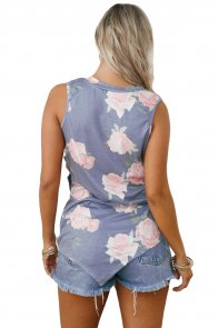 Grey Floral Asymmetric Button Detail Tank Top