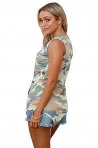 Camouflage Print Asymmetric Button Detail Tank Top