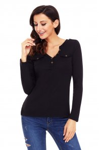 Black Button Long Sleeve Top with Pockets