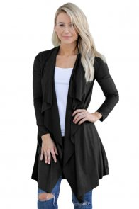 Black Faux Suede Open Cardigan