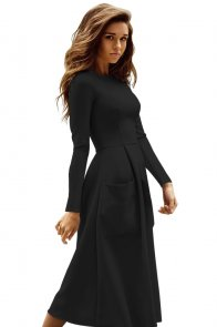 Black Bateau Collar Casual Big Pocket Skater Dress