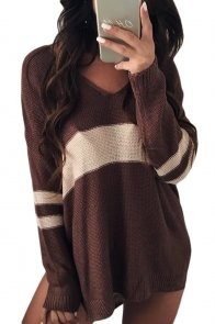 White Strip Brown V Neck Sweater