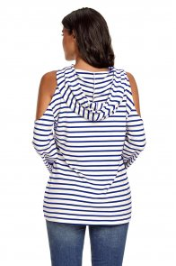 Navy White Striped Cold Shoulder Long Sleeve Top