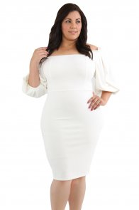 White Pleated Shoulder Plus Bodycon Dress