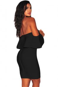 Solid Black Ruffle Off Shoulder Bandage Dress