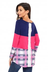 Rosy Navy Block Plaid Splice Long Sleeve Top