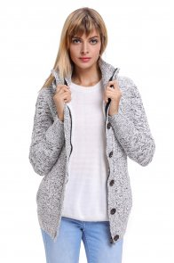 Dark Gray Long Sleeve Button-up Hooded Cardigans