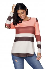 Pink Color Block Top with Sequin Elbow Patches