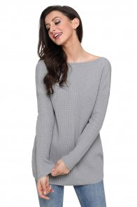 Gray Sexy V Neck Lace up Front Sweater