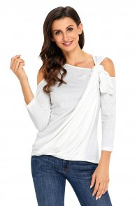 White Asymmetric Draped Cold Shoulder Top