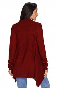 Wine Waterfall Long Sleeve Sweater Cardigan