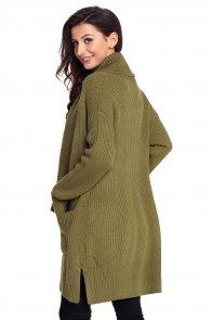 Army Green Comfy Cozy Pocketed Cardigan
