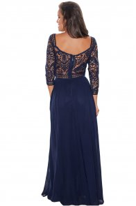 Navy Lace Crochet Quarter Sleeve Maxi Dress