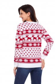 Red Reindeer and Snowflake Knit Christmas Sweater