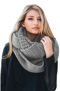 Gray Cable Knit Chunky Scarf