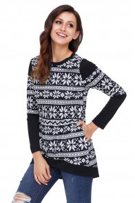 Black White Snowflake Print Long Sleeve Christmas Top