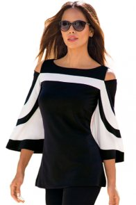 Black White Colorblock Bell Sleeve Cold Shoulder Top