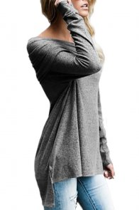 Grey Ruched Off Shoulder Long Sleeve Top