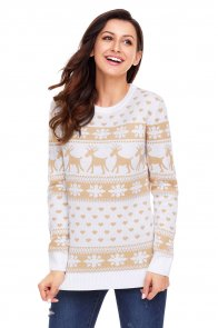 Khaki Reindeer and Snowflake Knit Christmas Sweater