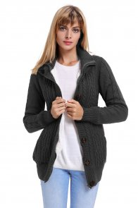 Charcoal Long Sleeve Button-up Hooded Cardigans