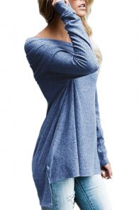 Blue Ruched Off Shoulder Long Sleeve Top